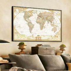 Cool Vintage Retro World Map Antique Paper Poster Wall Chart Home Bedroom DecorB As Picture one size