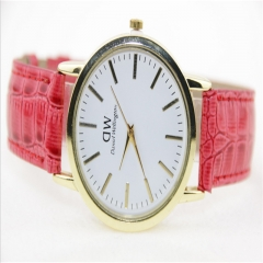 Fashion Quartz Analog Dial PU Leather Wrist Watches Men Women Couples Watch A= Roser Red