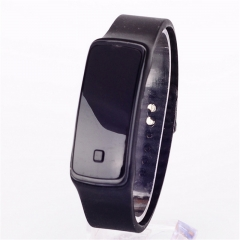 Girls / Boys LED Silicone Touch Screen Ultra Thin Jelly Digital Sports Watch GK Black