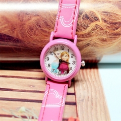 Cute Cartoon Child Kids Unisex Sports Pu Leather Strap Quartz Wrist Watch y0 Roser Red