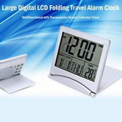 LCD Digital Folding Desk Alarm Clock With Thermometer Date Calendar Timer IP As Picture one size