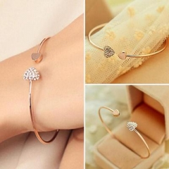 Women's Fashion Gold Rhinestone Love Heart Bangle Cuff Bracelet Jewelry Gift R Gold On Size