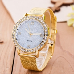 NEW Exquisite Gold Band White Dial diamond Hour Men Women Watch Gift GU5065 GUA As Picture