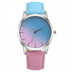 Fashion Women Casual Watches Candy Color Leather Belt Quartz Strap Round ClocG 2