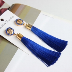 Vintage Fashion Long Tassel Fringe Boho Dangle Earring Women Bohemian EarrinP Deep Blue One size