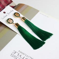 Vintage Fashion Long Tassel Fringe Boho Dangle Earring Women Bohemian EarrinP Deep Green One size