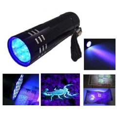 Black Mini Aluminum UV ULTRA VIOLET 9 LED FLASHLIGHT Torch Light Lamp GG As Picture one size