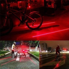 Laser Beam Waterproof LED Bike Bicycle Cycle Rear Back Tail Lights Light Lamp XG Red