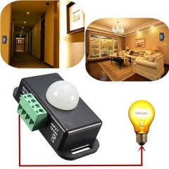 8A Automatic DC 12V-24V Infrared PIR Motion Detector Sensor Switch LED lights XG A one size