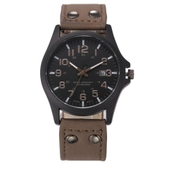 Mens Fashion Sport Watches Men Military Leather High quality Quartz Wrist Watch brown one size