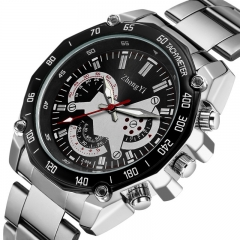 High quality Stainless Steel Strap Analog Date Men's Quartz Watch Casual Watch black one size