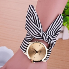 Women Geneva floral Cloth Band Quartz Analog Dress Belt Bracelet Wrist Watch black