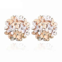 Stud Earrings for Women  Boucle d'oreille Crystal Flower Clover Earring Gold  Mujer as pic 1 on size