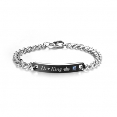 Lover's bracelet man women Couple Romantic Crystal Bangle Gift black on size