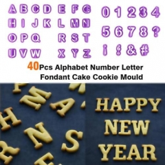 Fun 40PcsAlphabet Number Letter Fondant Cake Cookie Cutter Pan Mold Biscuit tooV as pic