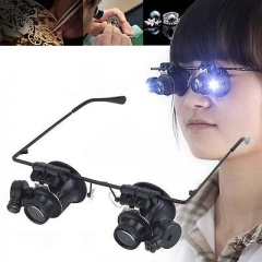 spectacle glasses eye loupe 20x LED Head magnifying glass Magnifier Handsfree GU as pic
