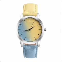 Fashion Women Casual Watches Candy Color Leather Belt Quartz Strap Round Watches as picture