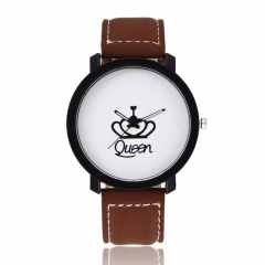 Creative Classic Queen Watches Eletronic King Round Dial Retro Casual Wirstwatches brown women
