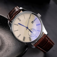 Fashion Brand new Couple Faux Leather Quartz Analog Classic Ray Glass Watch brown one size