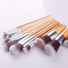 11pcs Bamboo Brushes Kit Makeup Cosmetic Blush Brush Eyebrow Foundation Powder as picture