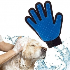 Fashion Massage True Glove Touch Gentle Efficient Pet Grooming Dogs Cats Bath blue left