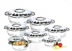6 Piece Stainless Steel Food Server Hot Pots Set Casserole -Silver silver