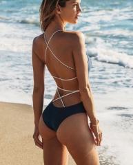 2017 One Piece Swimsuit Solid Women Swimwear Halter Bathing Suit Women Maillot Sexy Beachwear black s
