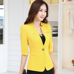 Fashion work Jacket Women half Sleeves V-neck Coat Candy Color feminino Vogue casual office top yellow s