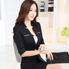 Fashion work Jacket Women half Sleeves V-neck Coat Candy Color feminino Vogue casual office top black xl