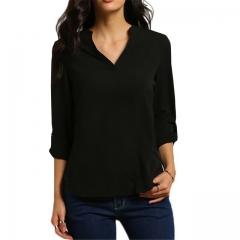 2017 Summer Fashion Blusas Sexy Women V-neck Chiffon Blouse Long Sleeve Solid Shirts black s