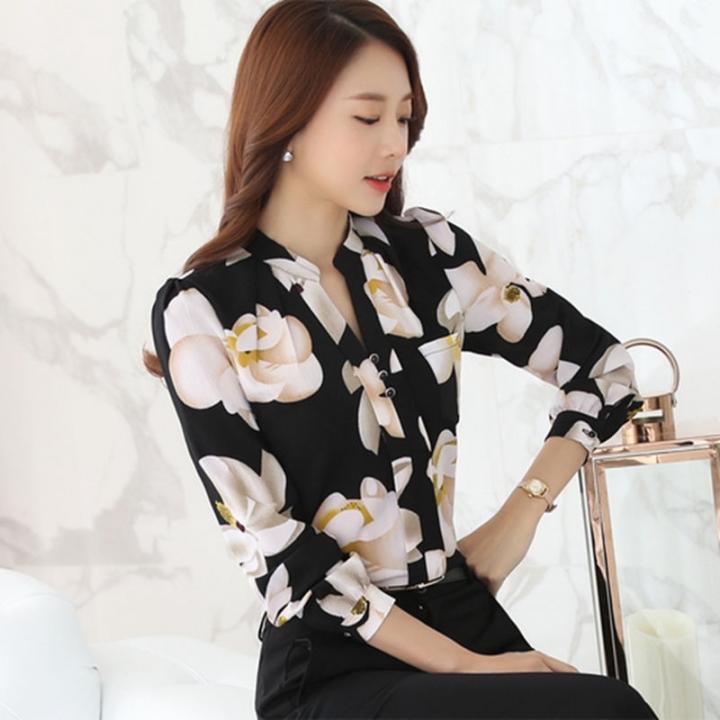 2018 Autumn Fashion V-Neck Chiffon Blouses Slim Women Chiffon Blouse Office Work Wear shirts black s