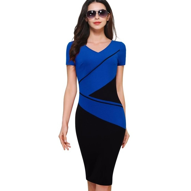 2017 Vintage Elegant ColorBlock Patchwork V-Neck Bodycon Women Office Wear to Work Business Dress blue S