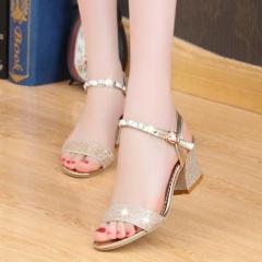 2017 Women Sandals Sexy Summer High Heels Ladies Fashion women sandals Shoes Chaussure Femme shoes gold 35