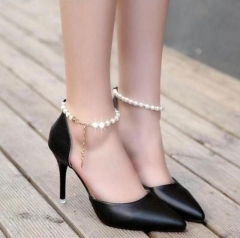 2019 Spring Pointed High-heeled Pink Pearls Wild Night Clubs Buckle Shoes Women's Sandals black 35