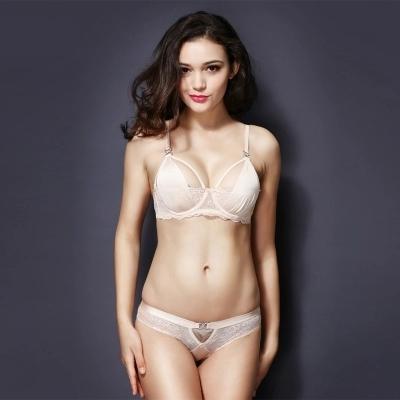 New brief sets lace brassiere women underwear set Transparent bra and briefs lingerie set intimates pink 70c