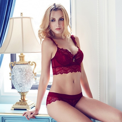Women's sexy bra set lace underwear adjustable thin cup lingerie set flank wide womens bras wine red 90c