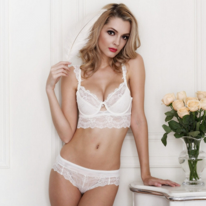Women's sexy bra set lace underwear adjustable thin cup lingerie set flank wide womens bras white 85b