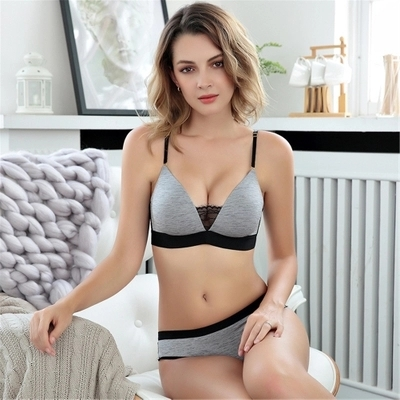 Lady Wire Free Comfortable Breathable Push Up Bra Set Ruffles Underwear Women Lingerie light grey 80b