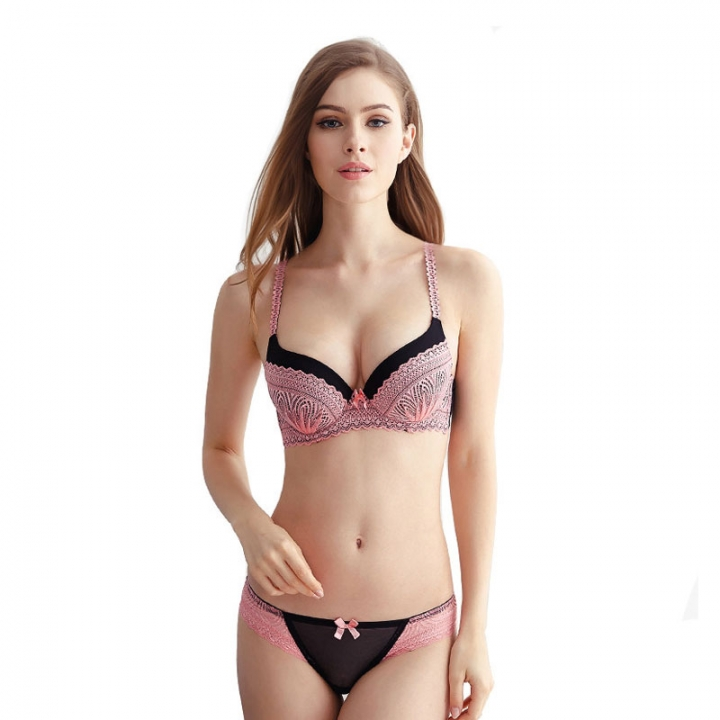 Underwear Sexy Lace bra set Push up bra and panty brassiere lingerie set sexy slim skinny lingerie pink 75a