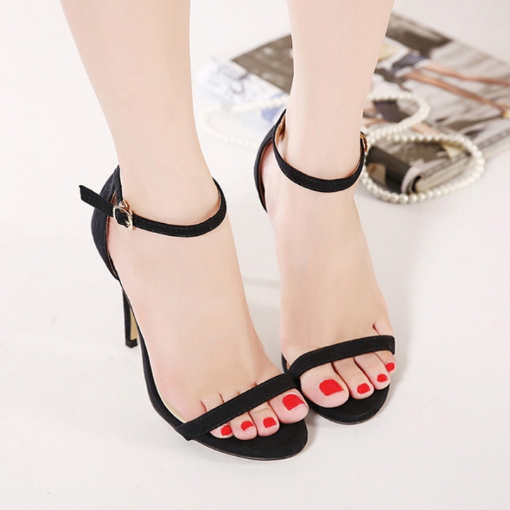 Fashion Women Sandals Female Ankle Strap High Heels Suede Party Shoes Open Toe Buckle Cover Heels black uk3.5