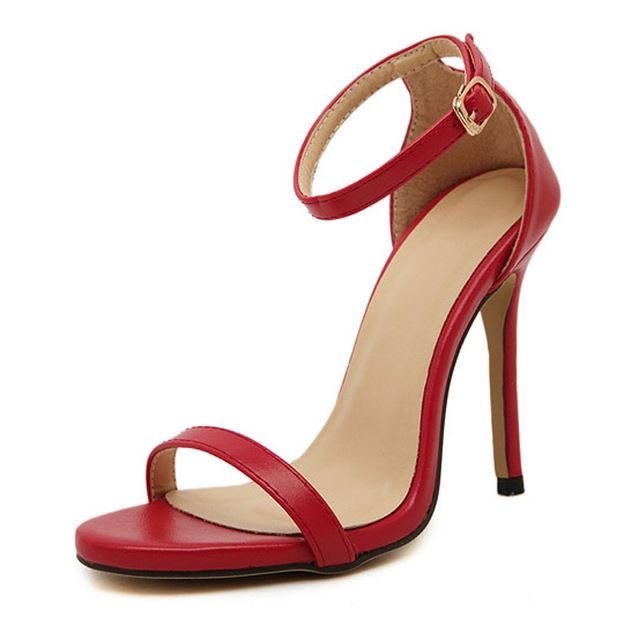 Fashion Women Sandals Female Ankle Strap High Heels Suede Party Shoes Open Toe Buckle Cover Heels red uk4