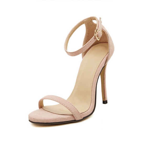 Fashion Women Sandals Female Ankle Strap High Heels Suede Party Shoes Open Toe Buckle Cover Heels pink uk5
