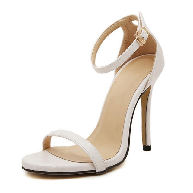 Fashion Women Sandals Female Ankle Strap High Heels Suede Party Shoes Open Toe Buckle Cover Heels white uk4.5
