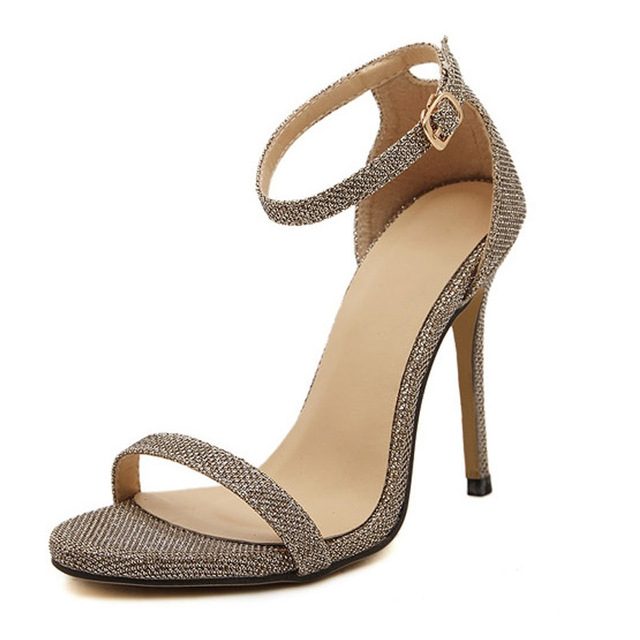 Fashion Women Sandals Female Ankle Strap High Heels Suede Party Shoes Open Toe Buckle Cover Heels gold uk2.5