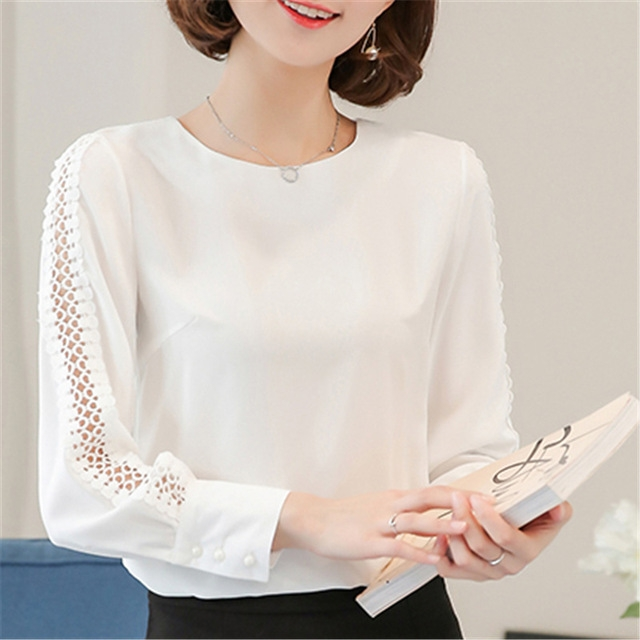 New Women Blouses Shirt Hollow Out Lace Blouse Tops For Shirt Geometry Casual Go To Work shirt white 3xl
