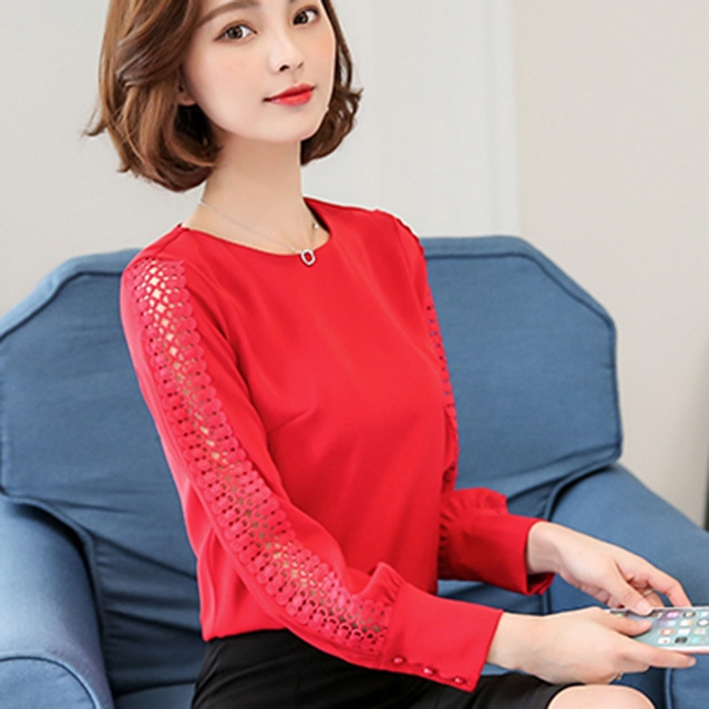 New Women Blouses Shirt Hollow Out Lace Blouse Tops For Shirt Geometry Casual Go To Work shirt red m