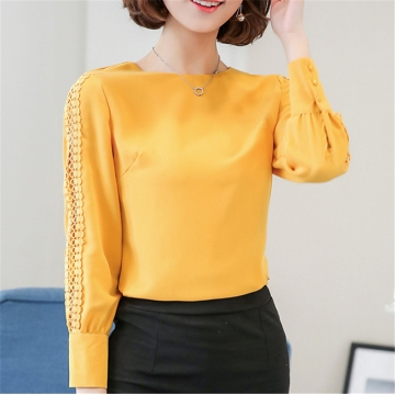 New Women Blouses Shirt Hollow Out Lace Blouse Tops For Shirt Geometry Casual Go To Work shirt yellow l