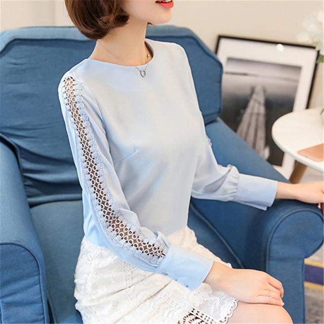 New Women Blouses Shirt Hollow Out Lace Blouse Tops For Shirt Geometry Casual Go To Work shirt sky blue l