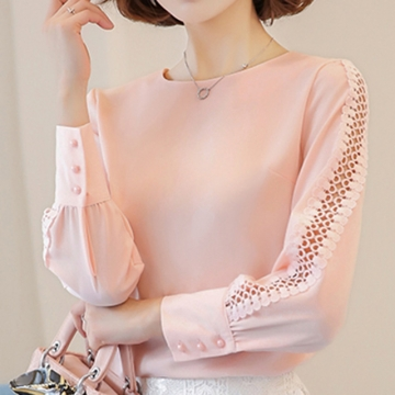 New Women Blouses Shirt Hollow Out Lace Blouse Tops For Shirt Geometry Casual Go To Work shirt pink l