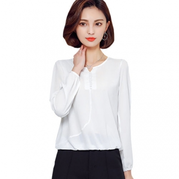 2017 Long Sleeve Blouse Shirt Women Clothes Autumn Korean Style V neck Solid Female Tops white l